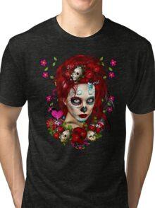 Sugar Doll Red Dia De Muertos Tri-blend T-Shirt