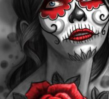 Day of the Dead Girl Red Makeup and Rose Pencil Sketch Sticker