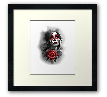 Day of the Dead Girl Red Makeup and Rose Pencil Sketch Framed Print