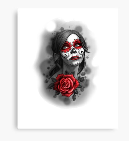 Day of the Dead Girl Red Makeup and Rose Pencil Sketch Canvas Print
