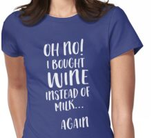 Oh no! I bought wine instead of milk...again Womens Fitted T-Shirt