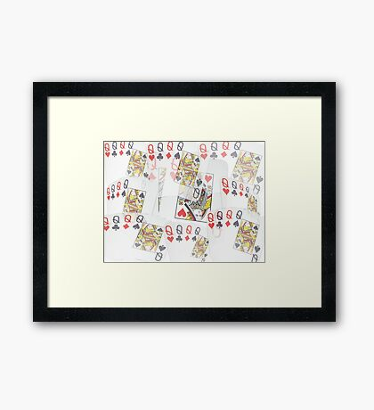 Poker  Cards  Quad Queens Layered Pattern Framed Print