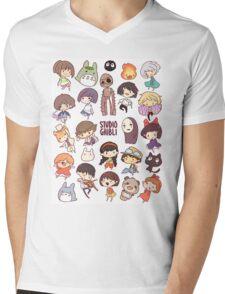 Hayao Miyazaki - Studio Ghibli - Chibi Characters Mens V-Neck T-Shirt