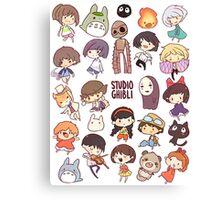 Hayao Miyazaki - Studio Ghibli - Chibi Characters Canvas Print