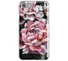 pink peonies on a dark background iPhone Case/Skin