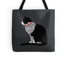 Typographic Sitting Black and White Cat 1. on Black Tote Bag