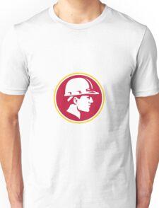 Builder Hardhat Side Circle Retro Unisex T-Shirt