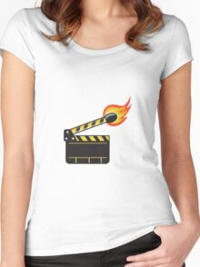 Clapper Board Match Stick On Fire Retro Women's Fitted Scoop T-Shirt