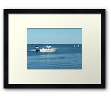 A large boat on its way out to sea for some fishing- Werribee Sth. Framed Print