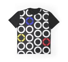 White and Primary Color Rings Graphic T-Shirt