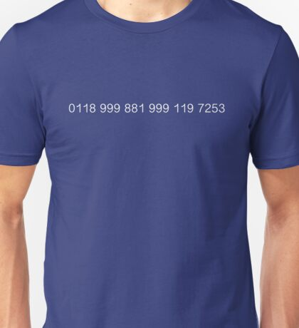 The New Easy-to-Remember Emergency Service Number: 0118 999 881 999 119 7253 - The IT Crowd Unisex T-Shirt