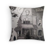 Creepy psycho Inspired Drawing Throw Pillow