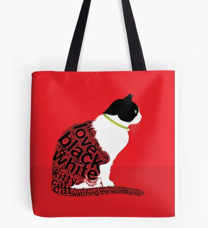 Typographic Sitting Cat 2. on Red Tote Bag