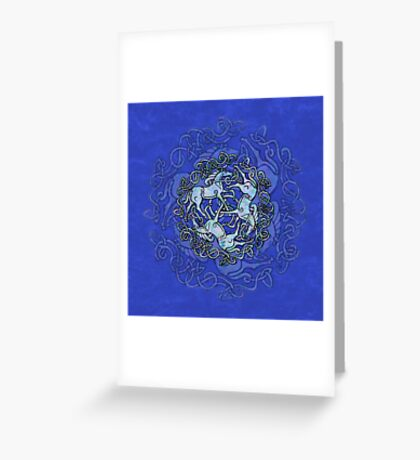 Tri Capall Triskelle - Blue Greeting Card