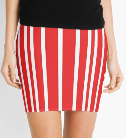 Simple Red and White Stripe Mini Skirt