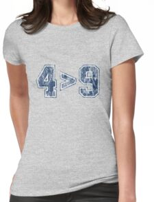 4 is greater than 9 (vintage) Womens Fitted T-Shirt