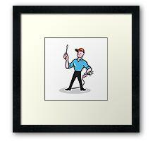 Electrician Holding Screwdriver Plug Cartoon Framed Print