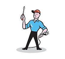 Electrician Holding Screwdriver Plug Cartoon Photographic Print