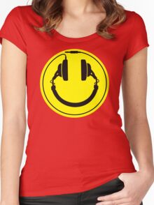 Headphones smiley wire plug Women's Fitted Scoop T-Shirt