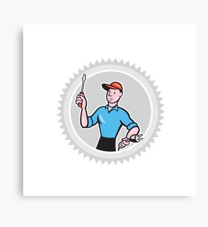Electrician Screwdriver Plug Rosette Cartoon Canvas Print