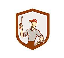 Electrician Screwdriver Plug Shield Cartoon Photographic Print