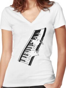 music man keyboard Women's Fitted V-Neck T-Shirt