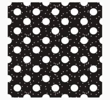 White snow and dots on black One Piece - Short Sleeve
