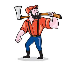 LumberJack Holding Axe Cartoon by patrimonio