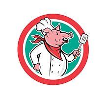 Pig Chef Cook Holding Spatula Circle Cartoon by patrimonio