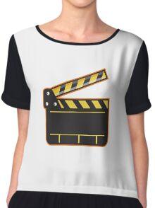 Movie Camera Slate Clapper Board Open Retro Chiffon Top