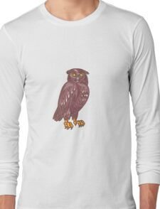Owl Observing Looking Drawing Long Sleeve T-Shirt