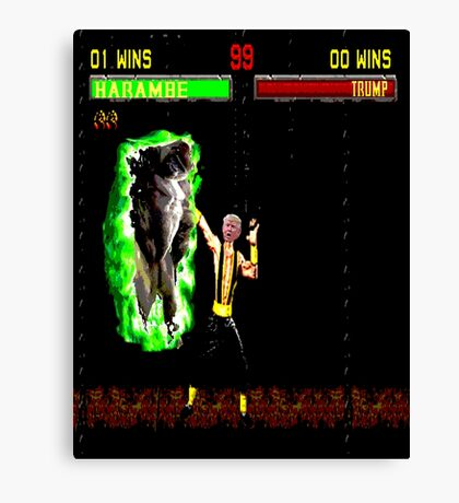 Harambe vs Trump Mortal Kombat Canvas Print