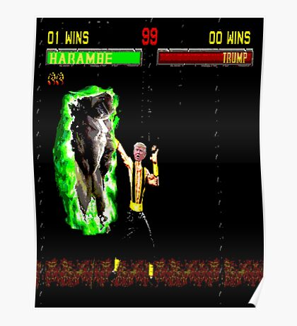 Harambe vs Trump Mortal Kombat Poster