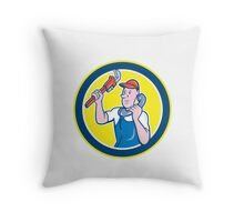 Plumber Monkey Wrench Telephone Circle Cartoon Throw Pillow