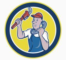 Plumber Monkey Wrench Telephone Circle Cartoon T-Shirt