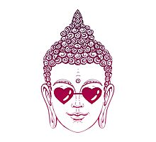 Buddha wearing glasses in the shape of hearts Photographic Print