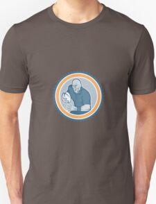 Rugby Player Running Ball Rosette Cartoon Unisex T-Shirt