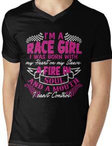 I'm a race girl I was born with my heart on my Sleeve Mens V-Neck T-Shirt