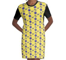 Gold Trimmed Blue Designs Graphic T-Shirt Dress