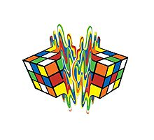 Rubiks Cube Puzzle Magic Melting Rubix Cube Photographic Print