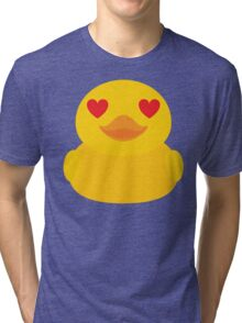 Emoji Rubber Duck with Love and Heart Eyes Tri-blend T-Shirt
