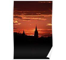 Silhouette old burg Sibiu Poster