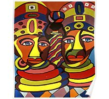 African Traditional Tribal Women Abstract Art Canvas Painting for Women, Girls, Ladies, Kids 1 Poster