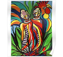 African Traditional Tribal Women Abstract Art Canvas Painting for Women, Girls, Ladies, Kids 2 Poster