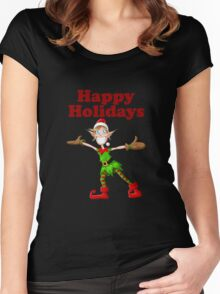 Christmas Elf Happy Holidays Women's Fitted Scoop T-Shirt
