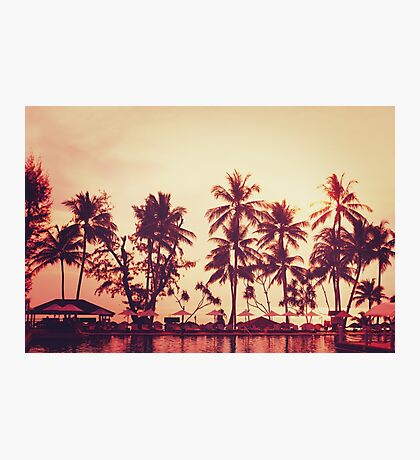 Tropical beach view. Palm tree and red sunset sky. Photographic Print