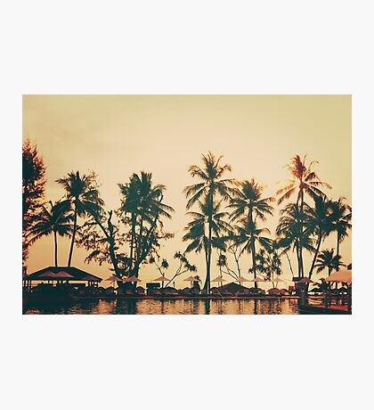 Tropical beach view. Palm trees, rest area. Photographic Print