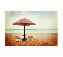 Tropical beach view. Two beach chairs. Art Print