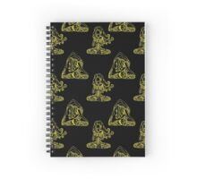 Seamless pattern with Two Girls in yoga pose.  Spiral Notebook