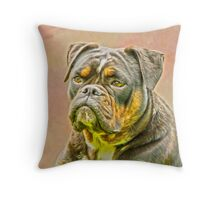 English Bulldog Dog Oil Painting Portrait Throw Pillow